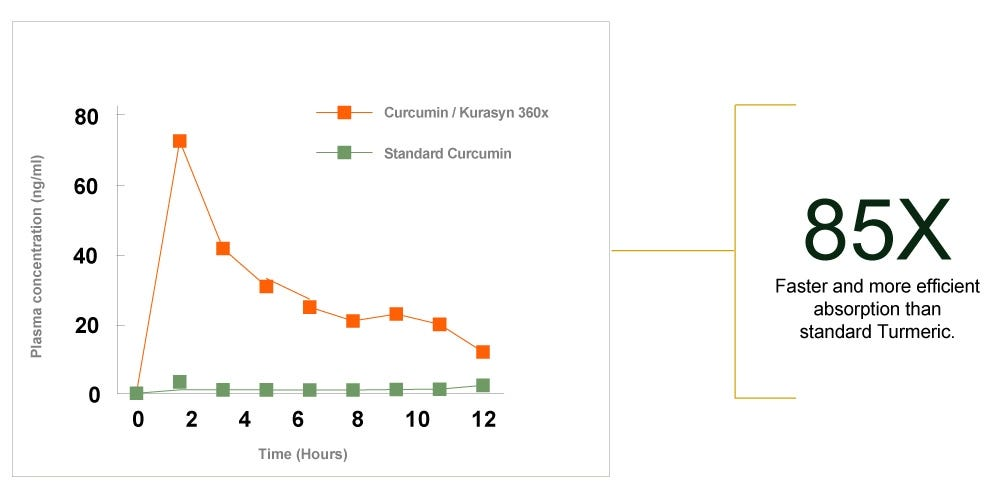 Kurasyn  360x has a more efficient absorption compared to standard turmeric